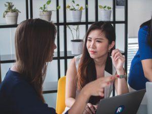 student talking to employability team